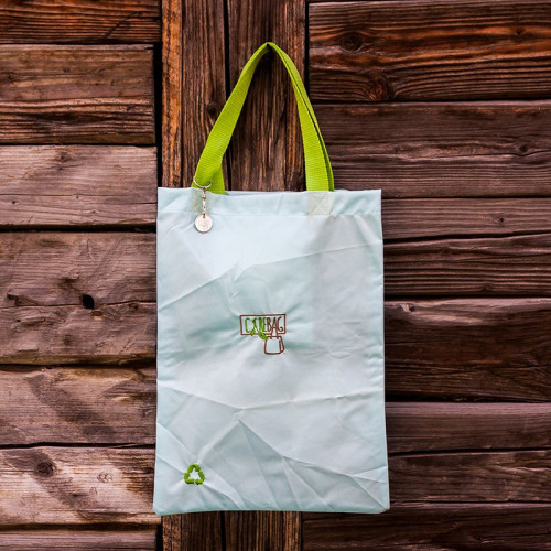 Light blue with blue border and green handle Shopper Bag