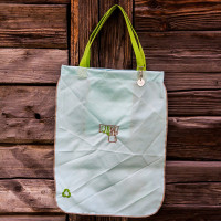 Light blue with brown border and green handle Shopper Bag